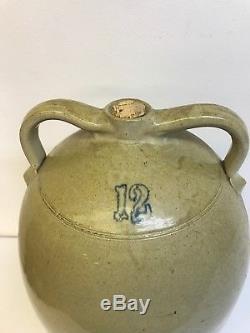 Antique 12 Gallon Double Handle Stoneware Pottery Crock Salt Glaze Jug 2 Handle
