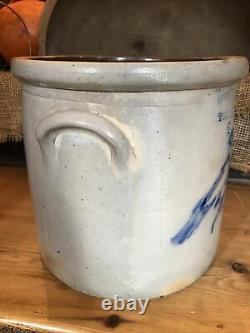 Antique 1800s West Troy Pottery NY Stoneware Crock Cobalt Bird On Flower 2 Gal