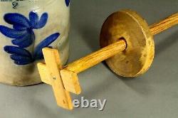 = Antique 1860's B & W Stoneware Butter Churn 2 Gal Crock PENN YAN, NY J. Mantell
