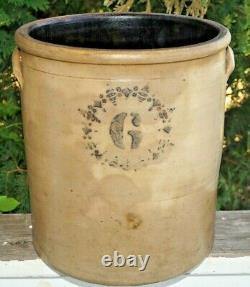 Antique 1860s 1890s Unknown Pottery Salt Glaze Stoneware 6 Gal Crock Churn