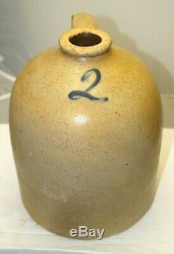 Antique 1860s 90s Stoneware 2 Gallon Salt Glaze Beehive Jug Crock Churn