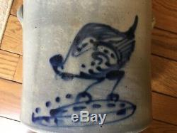 Antique 1880 NY Stoneware 2 Gallon Crock Chicken Pecking Corn EXCELLENT