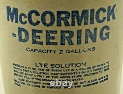Antique 1910 30s Era McCormick Deering Advertising Stoneware Crock Jug Churn