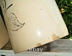 Antique 1910s Red Wing Stoneware Elephant Ear Birch Leaf 5 Gal Crock Jug Churn
