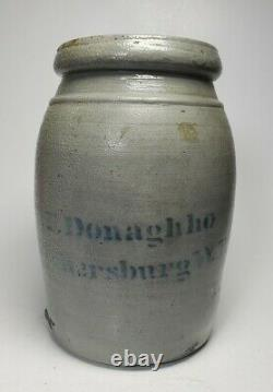 Antique 19C A. P. Donaghho Parkersburg WV Stoneware Crock Jar 8in Tall