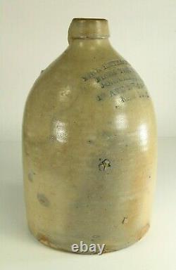 = Antique 19th C RARE Stoneware Jug Crock Merchant JOHN MATTHEWS NEW YORK #14