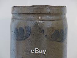 Antique 19th C STONEWARE Salt Glaze COBALT BLUE DEC Small PA Canning Jar CROCK
