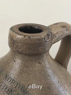 Antique 19th C. Stoneware Blue Bird Jug J & E Norton Bennington VT Pottery Crock