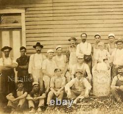 Antique 19thc Stoneware Ohio Pottery Folk Art Crock Trade Sign Labor Photo