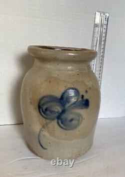Antique 1Gallon Pottery Glazed Stoneware Blue Cobalt Decorated Jar/Crock