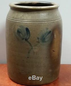 Antique 1 1/2 Gallon Blue Cobalt Decorated withTulips Stoneware Crock Maryland