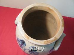 Antique 1 1/2 Gallon Cobalt Decorated Ovoid Stoneware Jar Crock Virginia