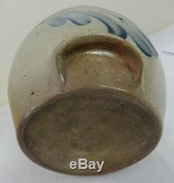 Antique 1.5 Gal. Stoneware Batter Pail Cobalt Decorated Floral Evan-Jones