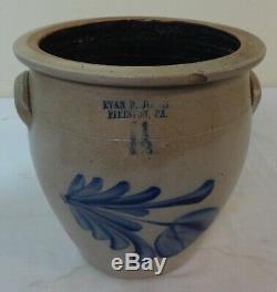 Antique 1.5 gal. Stoneware Jar Cobalt Blue Decorated Flower Evan Jones