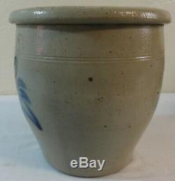 Antique 1 Gal. Stoneware Crock Blue Tulip Decoration Shenfelter Reading, Pa