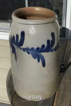 Antique 1 Gallon Cobalt Decorated Stoneware Crock Fruit Jar Baltimore/Virginia
