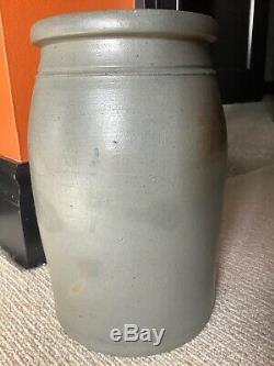 Antique 1 Gallon Freehand Cobalt Flower Stoneware Crock Hamilton & Jones Gboro