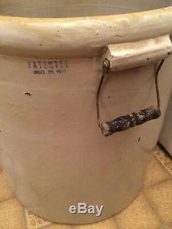 Antique 20 Gallon Red Wing Stoneware Pottery Crock With Handles Small Wing