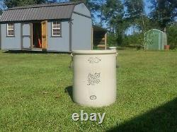 Antique 20 Gallon Western Stoneware Crock With Wooden Handles