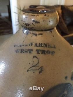 Antique 2Gal. 13.5Stoneware Salt Glaze Jug Cobalt Tulip WM E. Warner West Troy