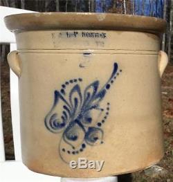 Antique 2 Gal E & Lp Norton Bennington Vt Stoneware Crock Cobalt Floral Handles