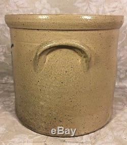 Antique 2 Gallon Blue Decorated Stoneware Crock Connolly and Palmer