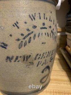 Antique 2 Gallon Geneva Stoneware Crock Jar Cobalt Blue Decoration