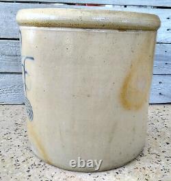 Antique 2 Gallon Minnesota Red Wing Stoneware Crock, Salt Glaze, Cobalt Double P