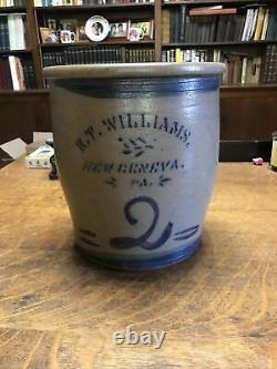 Antique 2 Gallon New Geneva PA Stoneware Crock Jar Cobalt Blue Decoration