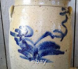 Antique 2 Gallon Salt Glaze Stoneware Butter Churn with Cobalt Flower Decoration