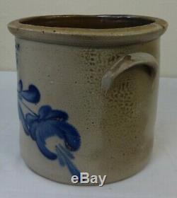 Antique 2 Gallon Stoneware Crock Cobalt Blue Tulip by Evans Pittston, Pa