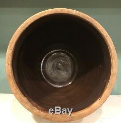 Antique 2 Gallon Stoneware Crock Cream Pot Jug Cobalt Flower Design 1850s