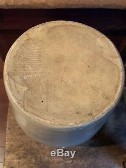 Antique 2 Gallon Stoneware Crock Jar Cobalt Bird Edmands Charlestown, MA