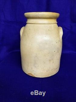 Antique 2 Gallon Stoneware Crock With Flower