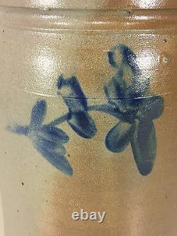 Antique 2 Gallon Stoneware Crock with 3 Cobalt Blue Flowers No Makers Mark