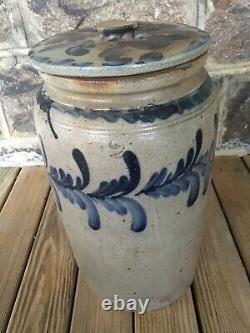 Antique 2 Gallon Stoneware Crock with Lid Cobalt Decorated Att. Remmey