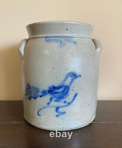 Antique 2 gal. 19th C Cobalt Decorated Stoneware Crock withBird White's Utica NY