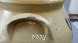Antique 3 Gal. Stoneware Crock Cobalt Blue Decoration Abstract Plant in Pot