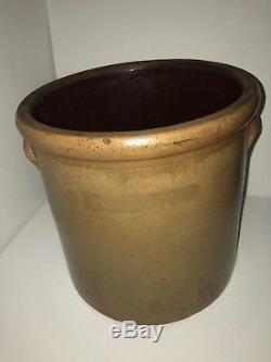 Antique 3 Gallon Beesting Stoneware Crock Lazy 8 Target Cobalt Blue Salt Glaze