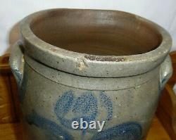 Antique 3 Gallon Blue Decorated Flower Stoneware Crock 14 Dirty