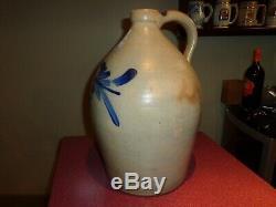 Antique 3 Gallon Cowden & Wilcox Cobalt Blue Stoneware Pottery Jug, (j1)