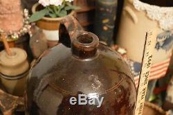 Antique #3 Gallon Large Dark Brown Stoneware Beehive Crock Whiskey Jug 15.5 H