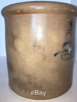 Antique 3 Gallon Salt Glaze North Star Red Wing Leaf Stoneware Crock