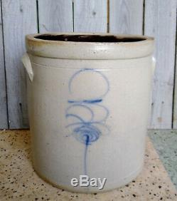 Antique 3 Gallon Salt Glaze Stoneware Crock Cobalt Bee Sting Target