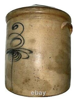 Antique 3-Gallon Stoneware Crock Marked with Cobalt 3 Bee Sting Design