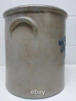 Antique 3 Gallon Stoneware Crock With Blue Crossed Roses Late 1800's Crock
