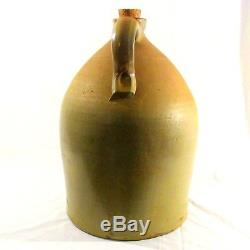 Antique 3 Gallon stoneware jug 19th Century Cobalt Blue decorated w decoration