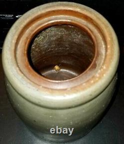 Antique 3 Stripe Cobalt Grey Stoneware Western Pennsylvania Salt Glaze Crock Wax
