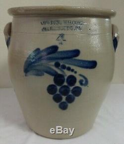 Antique 4 Gal. Stoneware Cowden Wilcox Crock Blue Cobalt Grapes Decoration