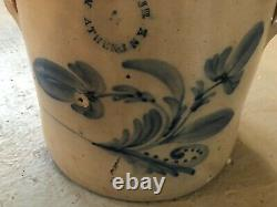 Antique 4 Gal. Stoneware Crock Cobalt Blue Decoration N. Clark Jr. Athens, NY